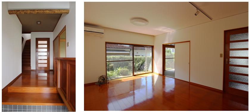 ホール、リビングダイニング/クロス張替え済。南向きで日当たり抜群、巾広の窓で明るいです。