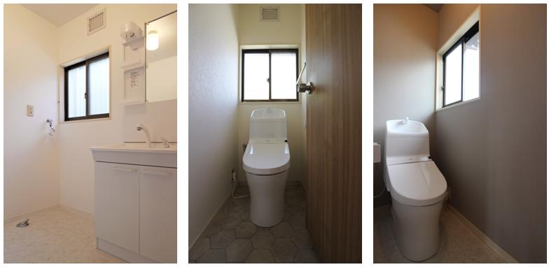 洗面脱衣室、1階・2階トイレ/床クッションフロアー、クロス張替え済。 設備機器は新品。 洗面化粧台は幅75cm、 シャワー付きで広々。 便器は節水型。深くて広い手洗いボウルは 水はねしにくく使いやすい。