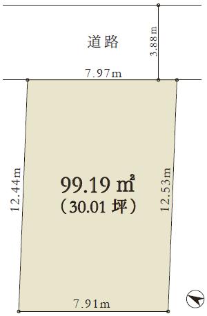 区画図/現状の駐車スペースと階段を除いた面積は 約19坪です。