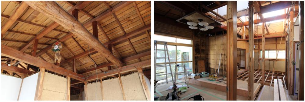 廊下・居室・2階は、外壁を残した状態で 構造躯体の状態まで解体。  耐震補強をして、リノベーション工事中。