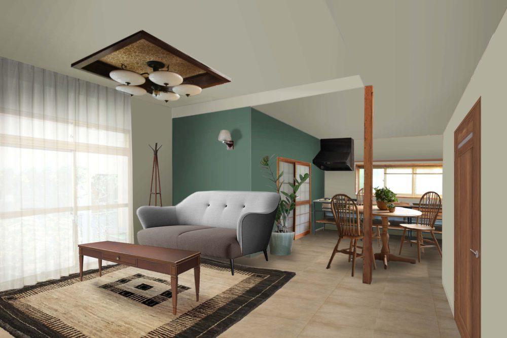 LDKの完成イメージです。(家具・カーテン・ラグは付帯しません)