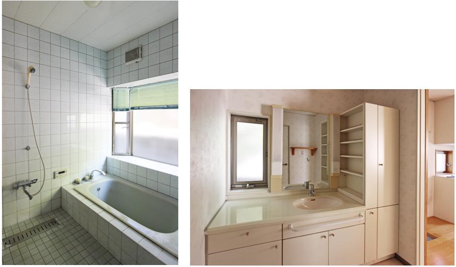 浴室/1.25坪の広さ 洗面脱衣室/洗面化粧台は収納キャビネット付。カウンターは広く、棚もあり使いやすいです。