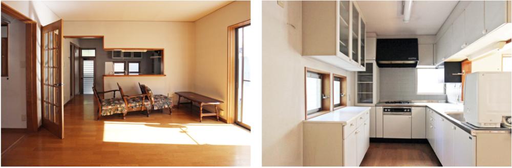 LDK16.7帖/L型の対面キッチン、ガスコンロ 朝日が射し込み明るいです。