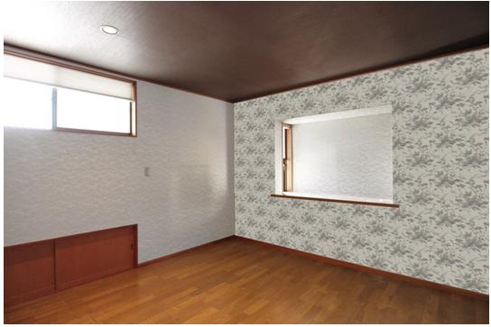 2階洋室8帖。 引戸をあけると屋根裏収納になっています。 全室、クロスは張替え済です。