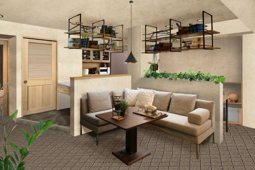 ※家具・雑貨類は付属しておりません。インテリアショールーム「DEJIMASTOCK」の家具でコーディネートしています。