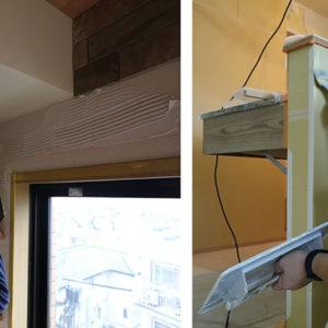 (左)クシ目のついたクシごてで接着剤を均一に伸ばします。   (右)キッチン前壁にはコンクリート調ペイントを塗装。