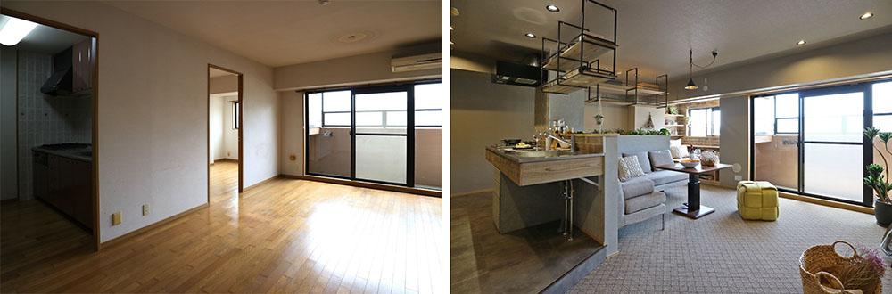 ビフォー(左)     →     アフター(右) 暗かったキッチンが、窓側の個室の壁を解体して明るくなりました。吊り棚は鉄サビ加工した足場板を使用。空間の広がりを遮らず、緩やかに仕切りました。