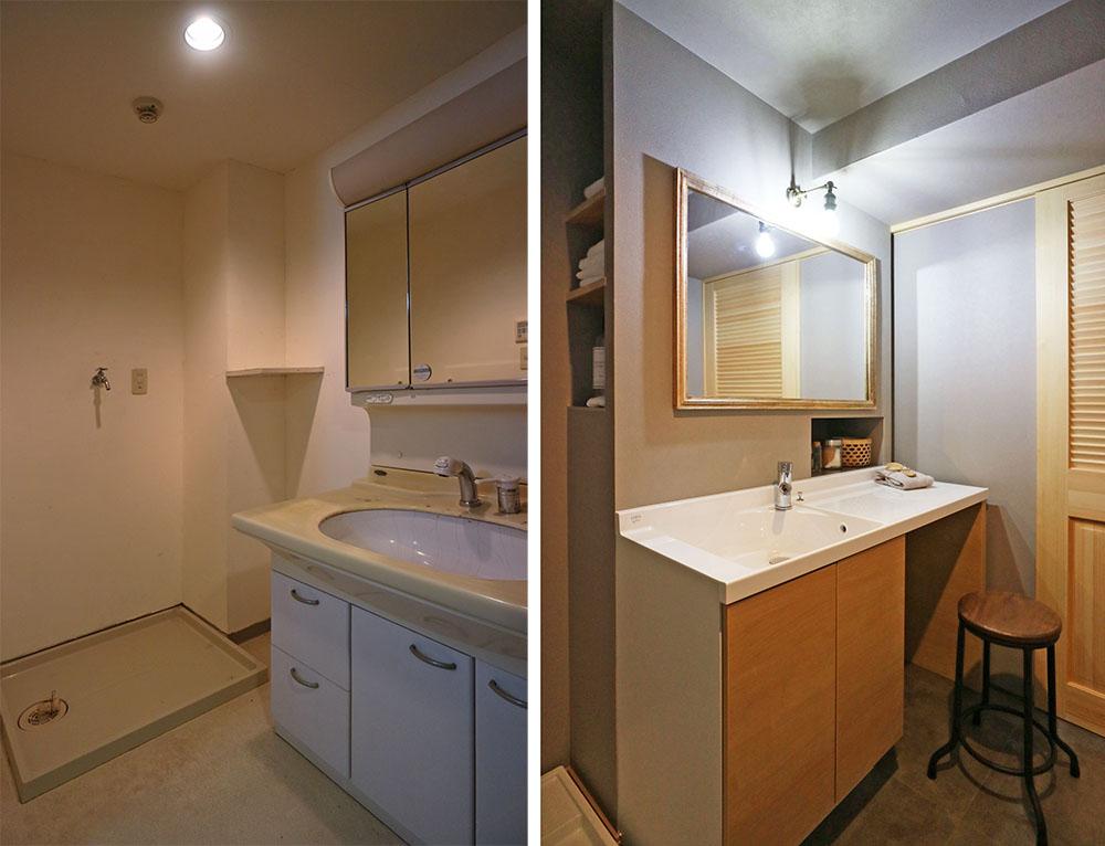 ビフォー(左)     →     アフター(右) 洗面脱衣室は0.5m広げて幅広タイプに。二人並んで使えます。鏡下はコンセント付き収納です。