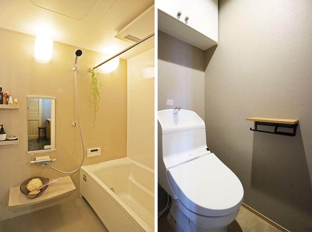 ユニットバス、トイレはお手入れ簡単な高機能タイプに入れ替え。 断熱仕様のホーロー壁浴室。暖房乾燥機付き。トイレ節水型、子供も使いやすい高さの手洗いボウル付き。